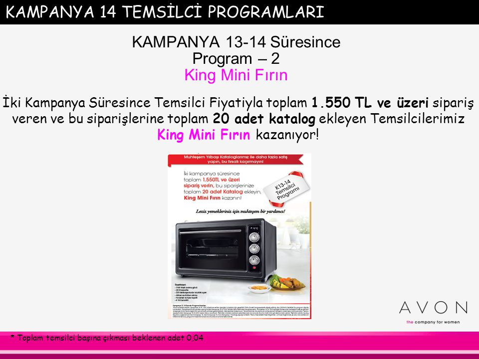 KAMPANYA 13-14 Süresince Program – 2 King Mini Fırın