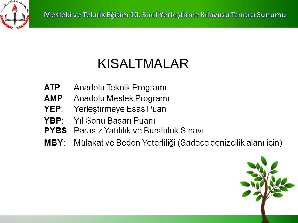 KISALTMALAR ATP: Anadolu Teknik Programı AMP: Anadolu Meslek Programı