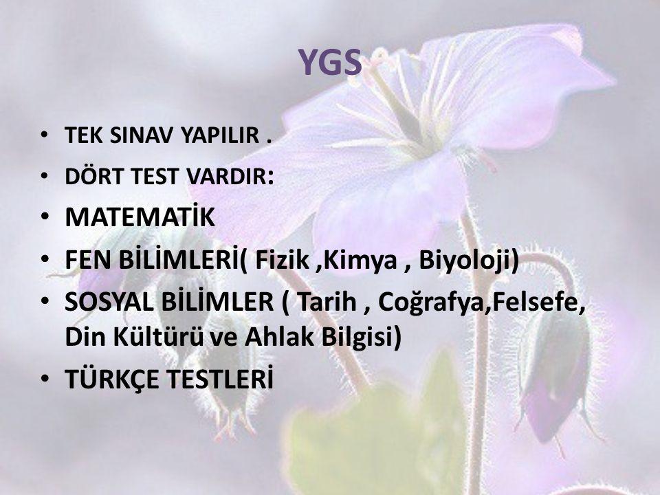YGS MATEMATİK FEN BİLİMLERİ( Fizik ,Kimya , Biyoloji)