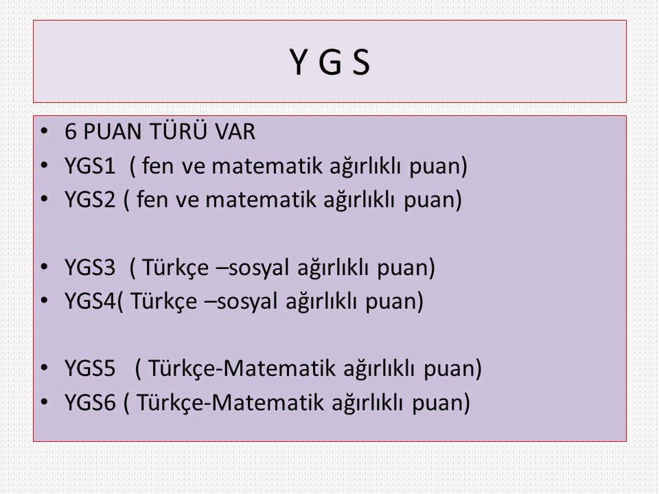 Y G S 6 PUAN TÜRÜ VAR YGS1 ( fen ve matematik ağırlıklı puan)