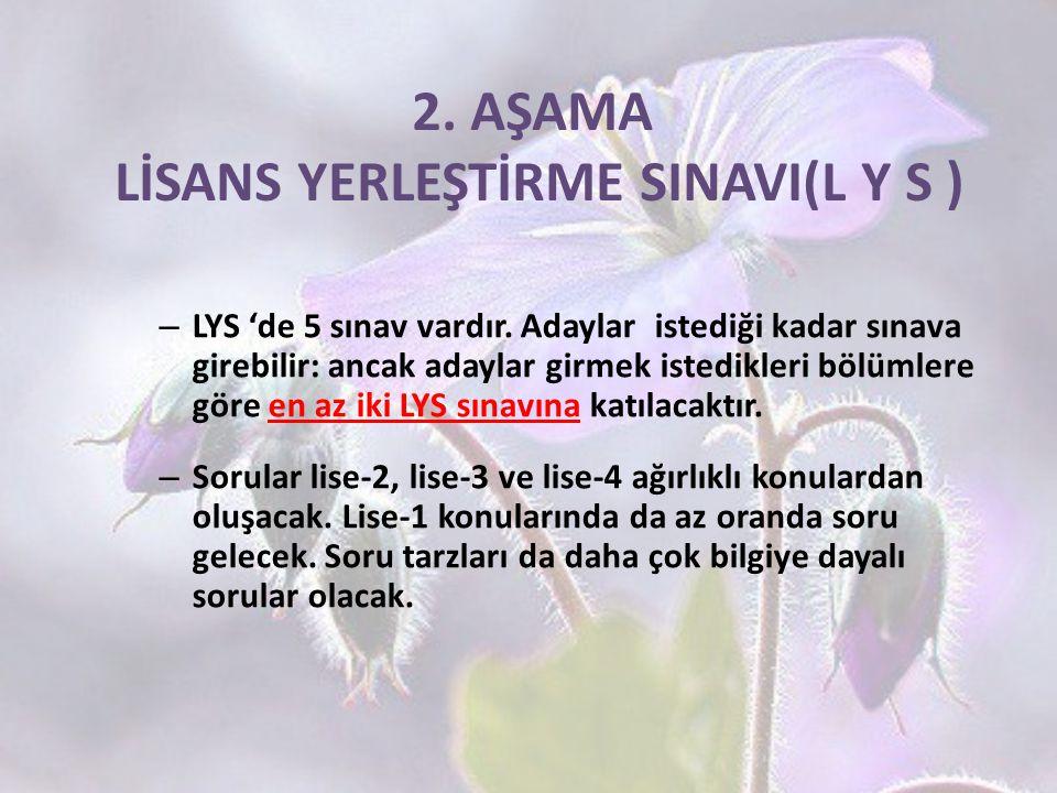 2. AŞAMA LİSANS YERLEŞTİRME SINAVI(L Y S )