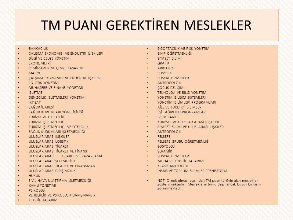 TM PUANI GEREKTİREN MESLEKLER