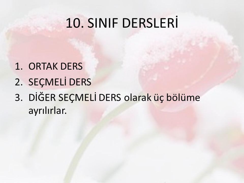10. SINIF DERSLERİ ORTAK DERS SEÇMELİ DERS
