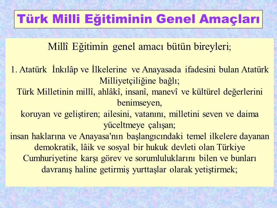 Türk Milli Eğitiminin Genel Amaçları
