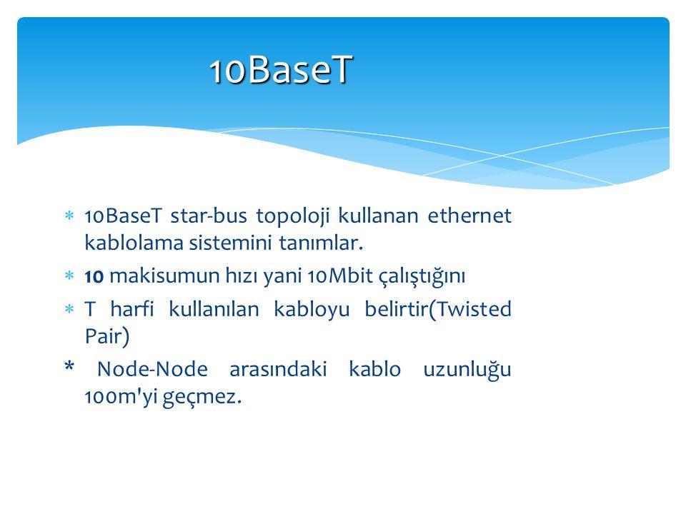 10BaseT 10BaseT star-bus topoloji kullanan ethernet kablolama sistemini tanımlar. 10 makisumun hızı yani 10Mbit çalıştığını.