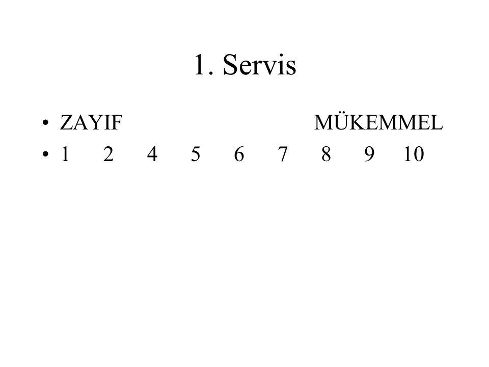 1. Servis ZAYIF MÜKEMMEL.