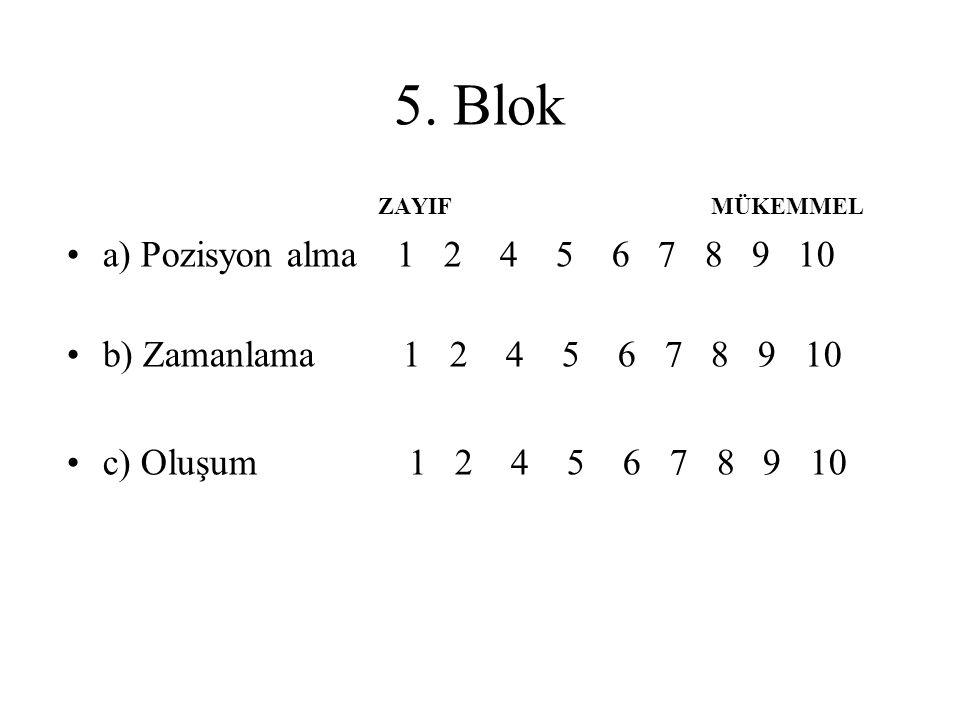 5. Blok ZAYIF MÜKEMMEL. a) Pozisyon alma 1 2 4 5 6 7 8 9 10.