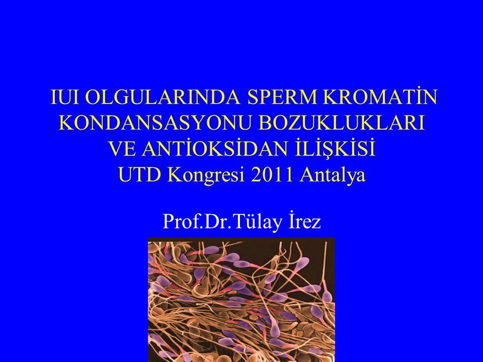 IUI OLGULARINDA SPERM KROMATİN KONDANSASYONU BOZUKLUKLARI VE ANTİOKSİDAN İLİŞKİSİ UTD Kongresi 2011 Antalya