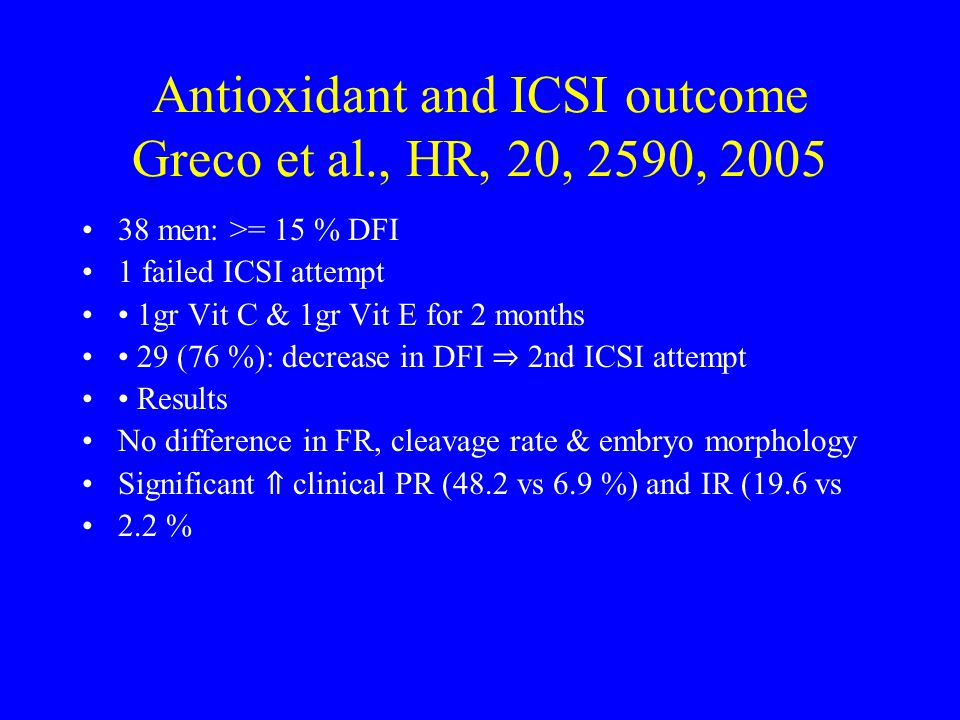Antioxidant and ICSI outcome Greco et al., HR, 20, 2590, 2005