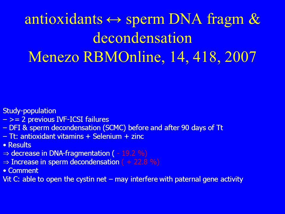 antioxidants ↔ sperm DNA fragm & decondensation Menezo RBMOnline, 14, 418, 2007