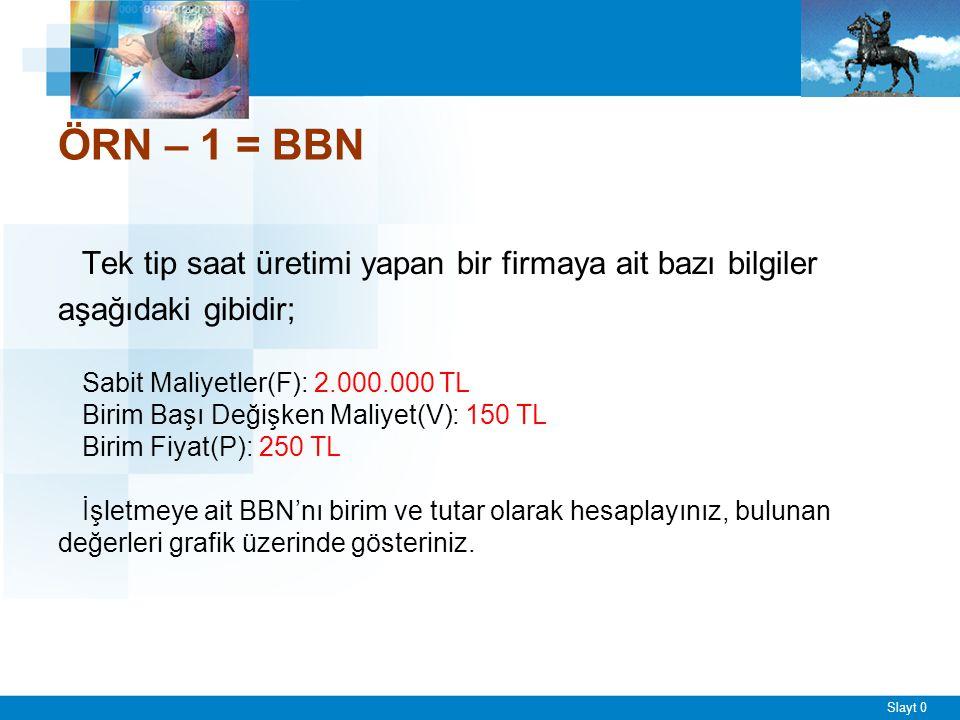 ÖRNEK – 3 = BBN Bir şirketin sattığı tek bir ürün ile ilgili veriler şöyledir; şirketin.