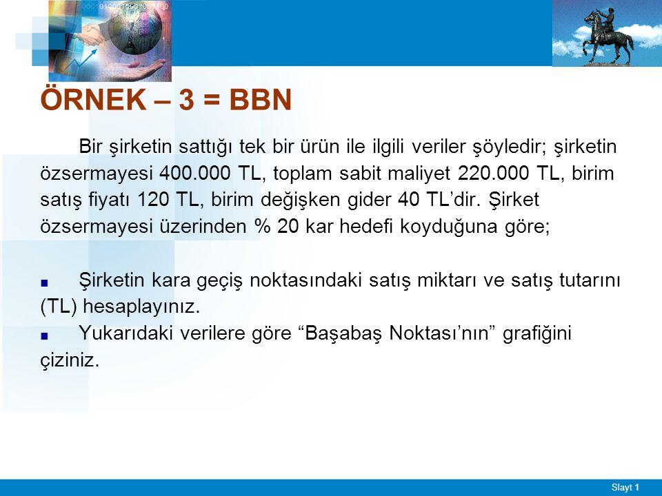 ÖRNEK – 4 = BBN Sabit maliyetleri 2000 TL, birim satış fiyatı 200