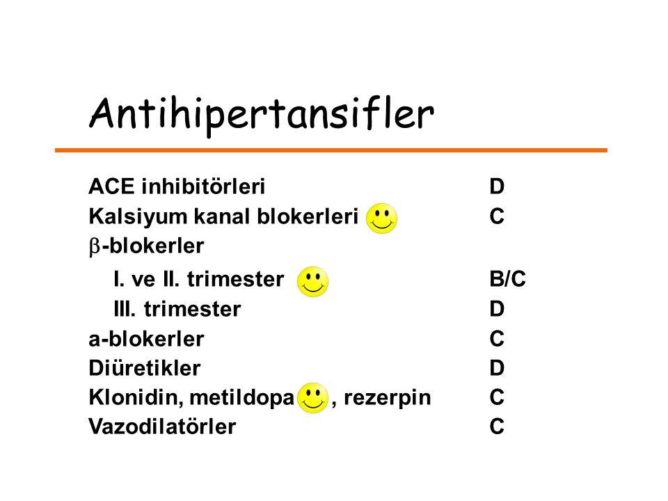 Antihipertansifler ACE inhibitörleri D Kalsiyum kanal blokerleri C