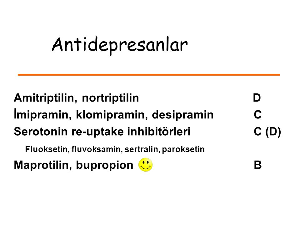 Antidepresanlar Amitriptilin, nortriptilin D