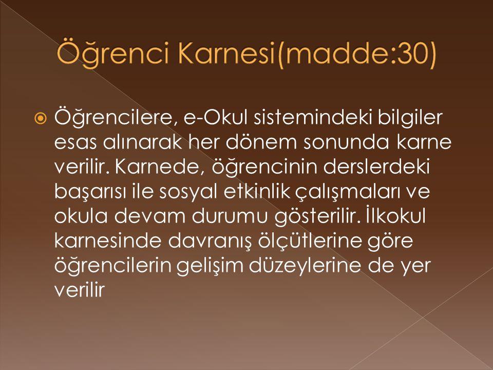 Öğrenci Karnesi(madde:30)
