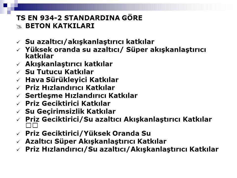 TS EN 934-2 STANDARDINA GÖRE