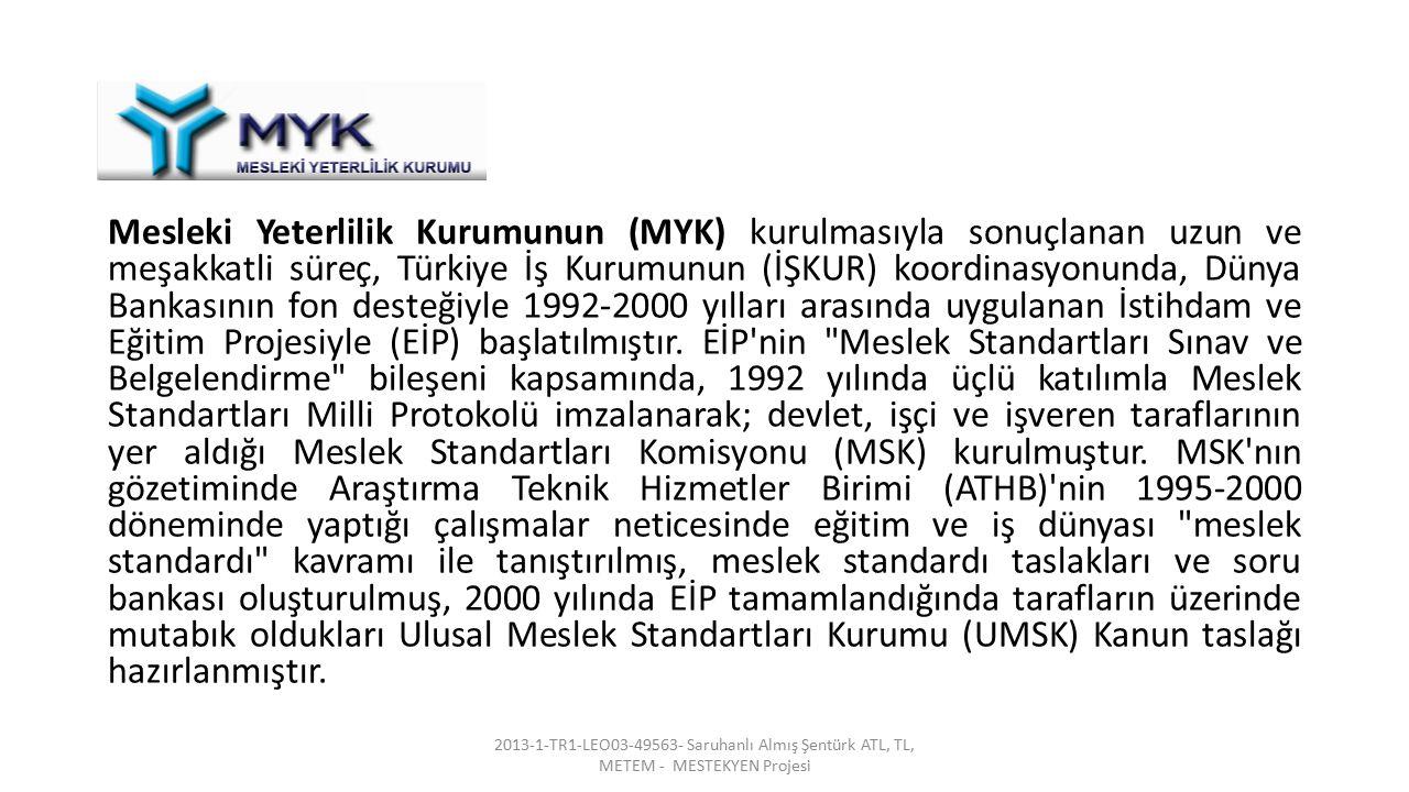 Mesleki Yeterlilik Kurumunun (MYK) kurulmasıyla sonuçlanan uzun ve meşakkatli süreç, Türkiye İş Kurumunun (İŞKUR) koordinasyonunda, Dünya Bankasının fon desteğiyle 1992-2000 yılları arasında uygulanan İstihdam ve Eğitim Projesiyle (EİP) başlatılmıştır. EİP nin Meslek Standartları Sınav ve Belgelendirme bileşeni kapsamında, 1992 yılında üçlü katılımla Meslek Standartları Milli Protokolü imzalanarak; devlet, işçi ve işveren taraflarının yer aldığı Meslek Standartları Komisyonu (MSK) kurulmuştur. MSK nın gözetiminde Araştırma Teknik Hizmetler Birimi (ATHB) nin 1995-2000 döneminde yaptığı çalışmalar neticesinde eğitim ve iş dünyası meslek standardı kavramı ile tanıştırılmış, meslek standardı taslakları ve soru bankası oluşturulmuş, 2000 yılında EİP tamamlandığında tarafların üzerinde mutabık oldukları Ulusal Meslek Standartları Kurumu (UMSK) Kanun taslağı hazırlanmıştır.
