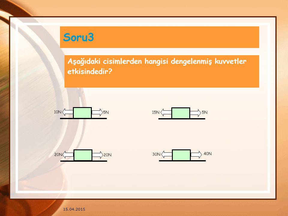 Soru3 Aşağıdaki cisimlerden hangisi dengelenmiş kuvvetler
