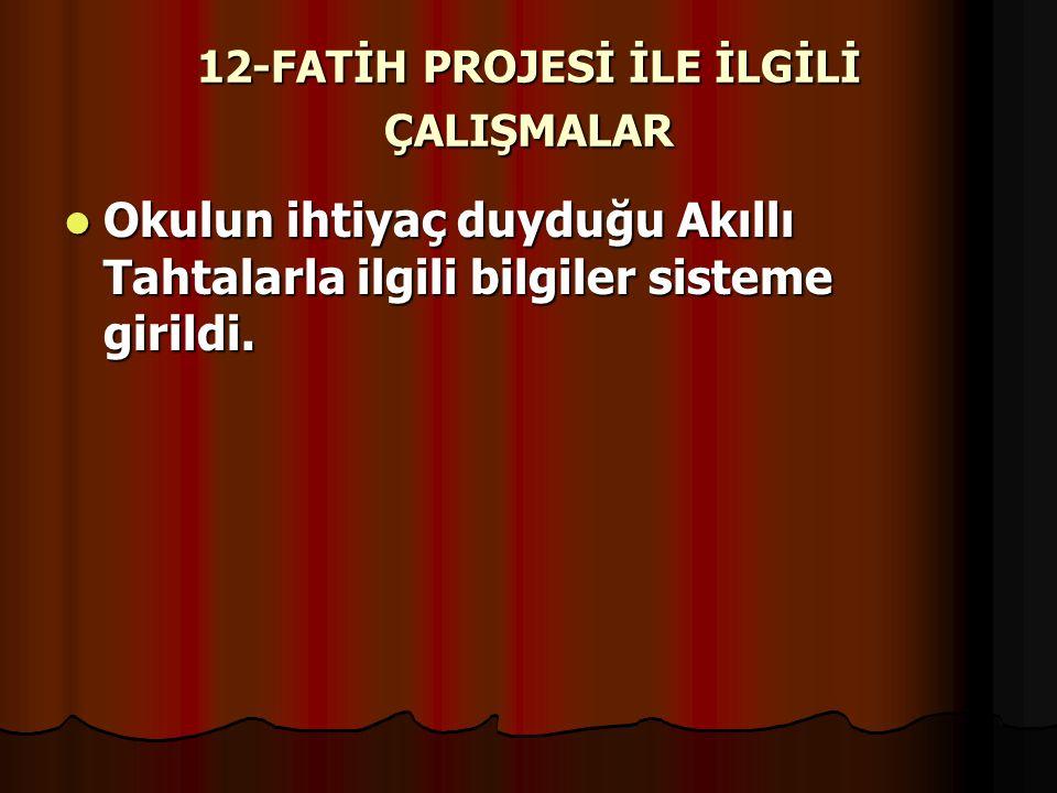 12-FATİH PROJESİ İLE İLGİLİ ÇALIŞMALAR