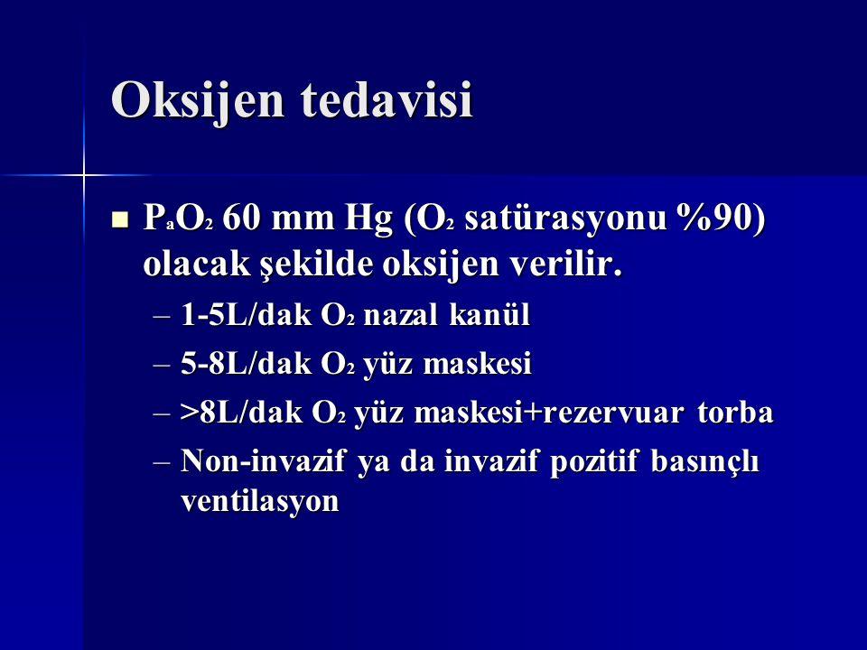 Oksijen tedavisi PaO2 60 mm Hg (O2 satürasyonu %90) olacak şekilde oksijen verilir. 1-5L/dak O2 nazal kanül.