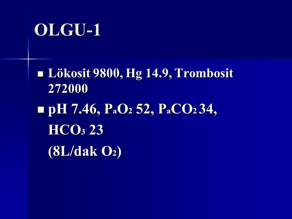 OLGU-1 pH 7.46, PaO2 52, PaCO2 34, HCO3 23 (8L/dak O2)