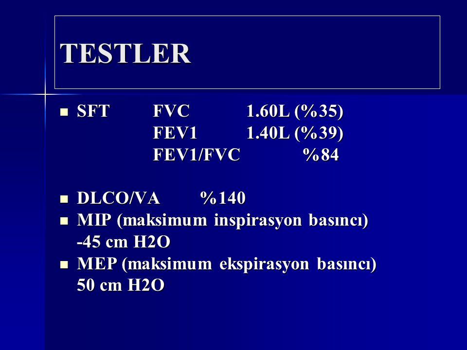 TESTLER SFT FVC 1.60L (%35) FEV1 1.40L (%39) FEV1/FVC %84 DLCO/VA %140