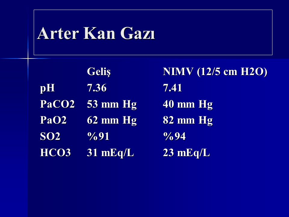 Arter Kan Gazı Geliş pH 7.36 PaCO2 53 mm Hg PaO2 62 mm Hg SO2 %91