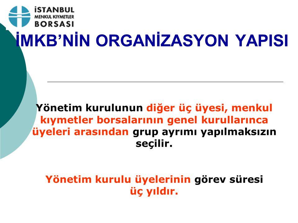 İMKB'NİN ORGANİZASYON YAPISI