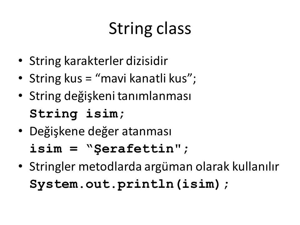 String class String karakterler dizisidir