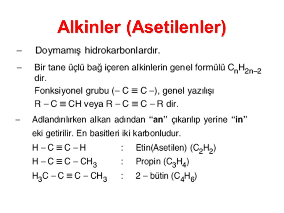 Alkinler (Asetilenler)
