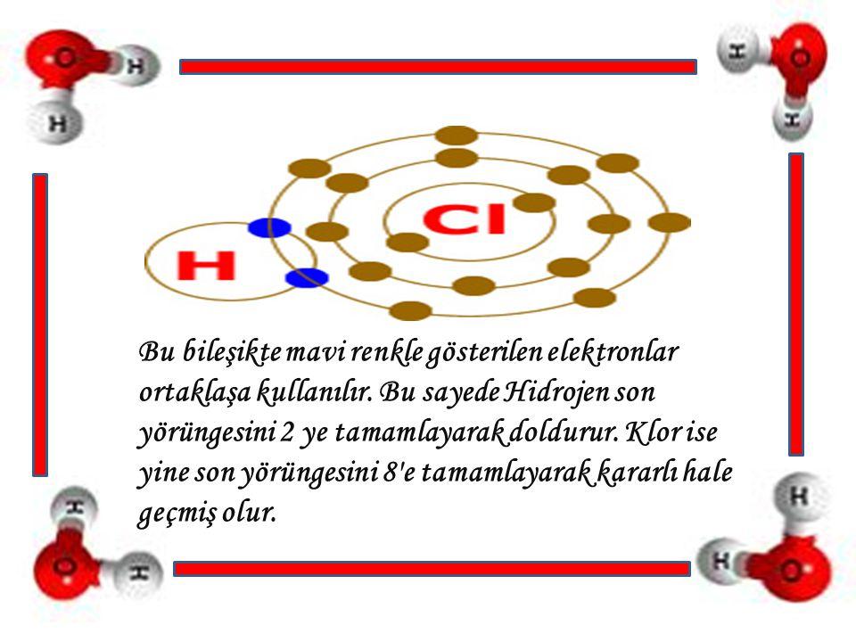 Bu bileşikte mavi renkle gösterilen elektronlar ortaklaşa kullanılır