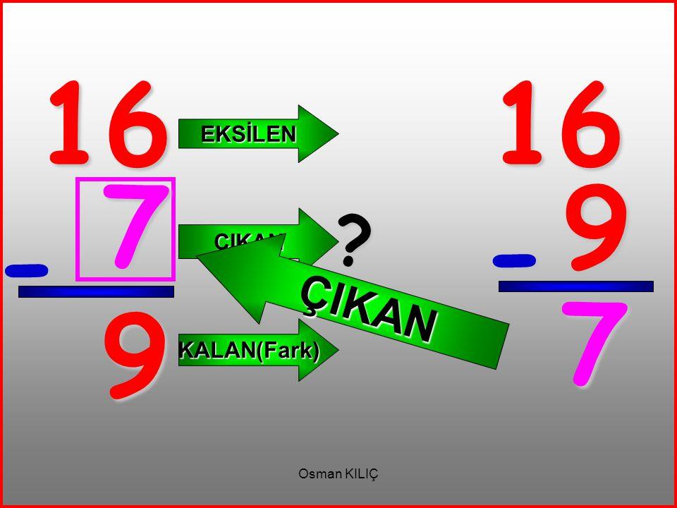 16 16 EKSİLEN ÇIKAN 7 9 ÇIKAN - - 7 9 KALAN(Fark) Osman KILIÇ