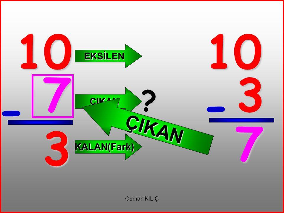 10 10 EKSİLEN ÇIKAN 7 3 ÇIKAN - - 7 3 KALAN(Fark) Osman KILIÇ
