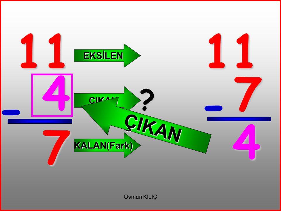 11 11 EKSİLEN ÇIKAN 4 7 ÇIKAN - - 4 7 KALAN(Fark) Osman KILIÇ