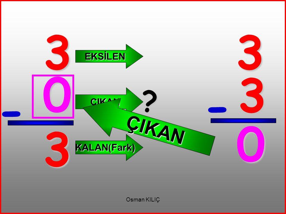 3 3 EKSİLEN ÇIKAN 3 ÇIKAN - - 3 KALAN(Fark) Osman KILIÇ