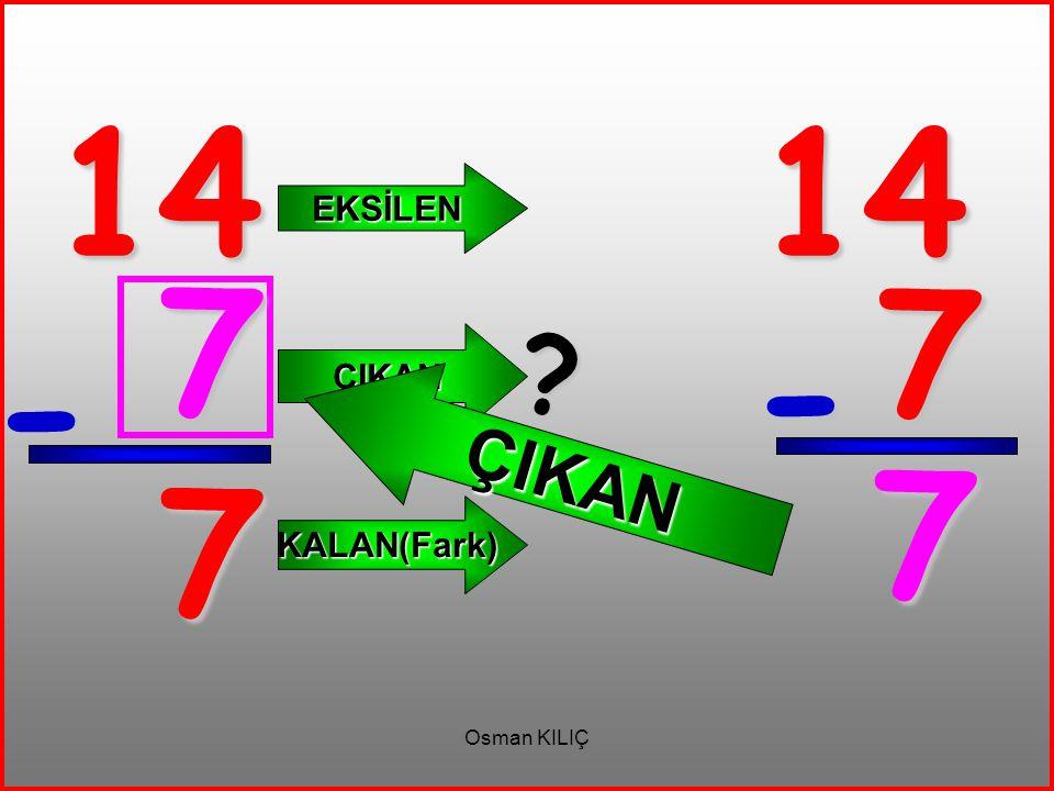 14 14 EKSİLEN ÇIKAN 7 7 ÇIKAN - - 7 7 KALAN(Fark) Osman KILIÇ