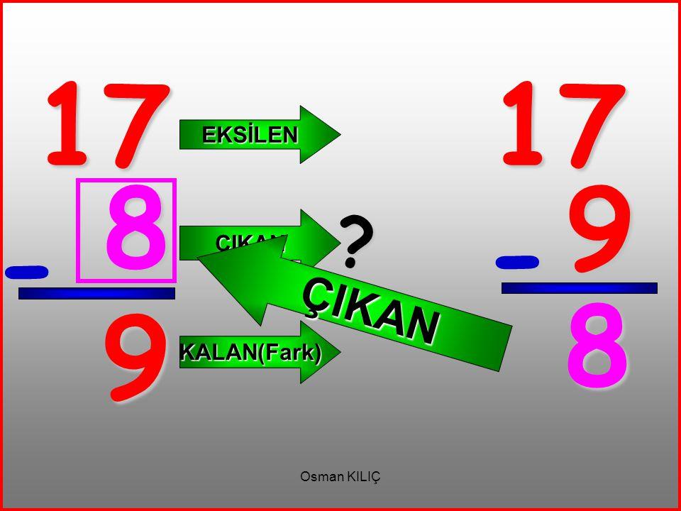 17 17 EKSİLEN ÇIKAN 8 9 ÇIKAN - - 8 9 KALAN(Fark) Osman KILIÇ