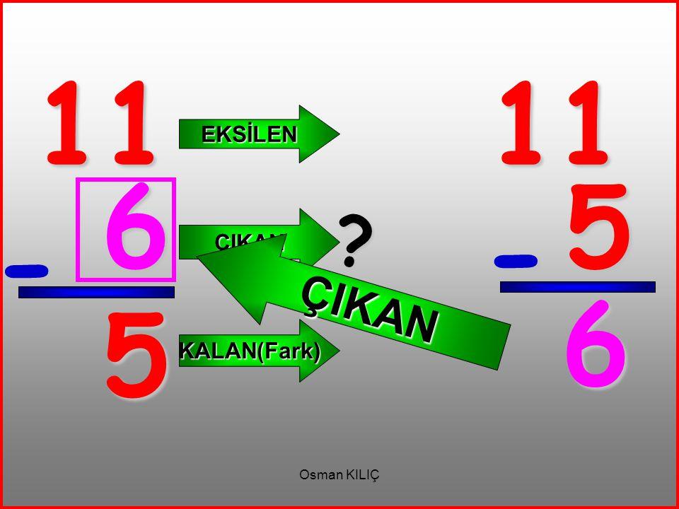11 11 EKSİLEN ÇIKAN 6 5 ÇIKAN - - 6 5 KALAN(Fark) Osman KILIÇ