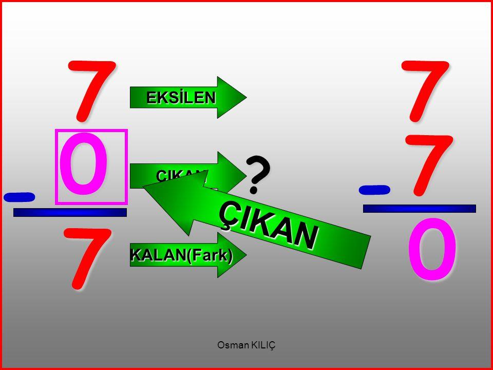 7 7 EKSİLEN ÇIKAN 7 ÇIKAN - - 7 KALAN(Fark) Osman KILIÇ