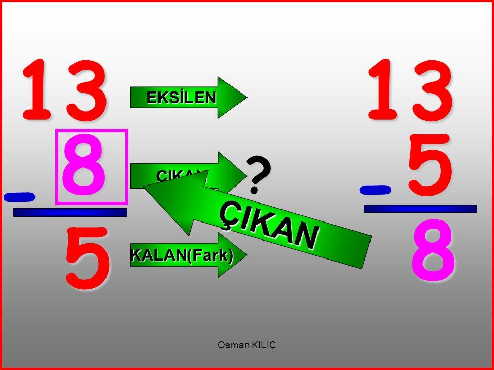 13 13 EKSİLEN ÇIKAN 8 5 ÇIKAN - - 8 5 KALAN(Fark) Osman KILIÇ