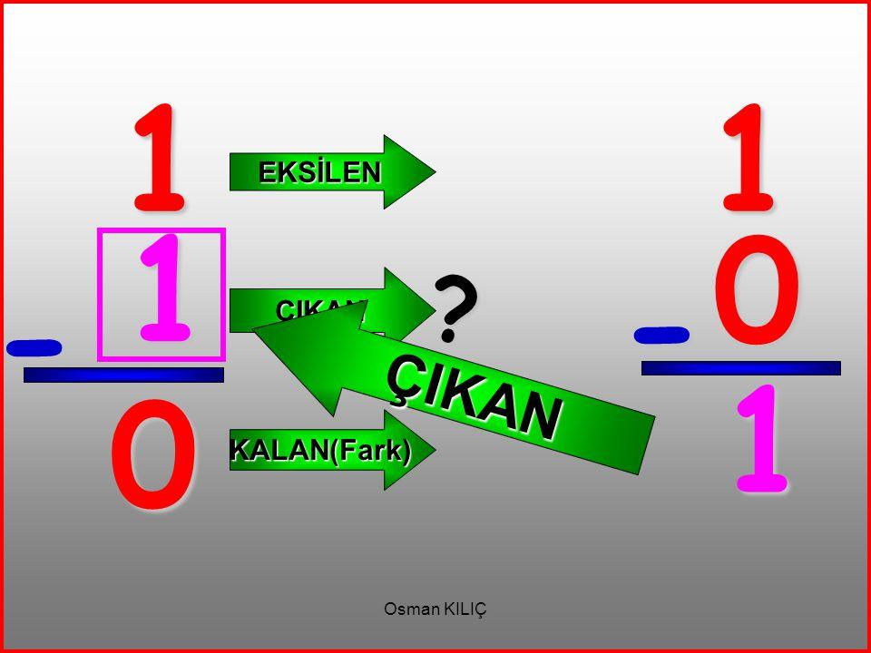 1 1 EKSİLEN ÇIKAN 1 ÇIKAN - - 1 KALAN(Fark) Osman KILIÇ