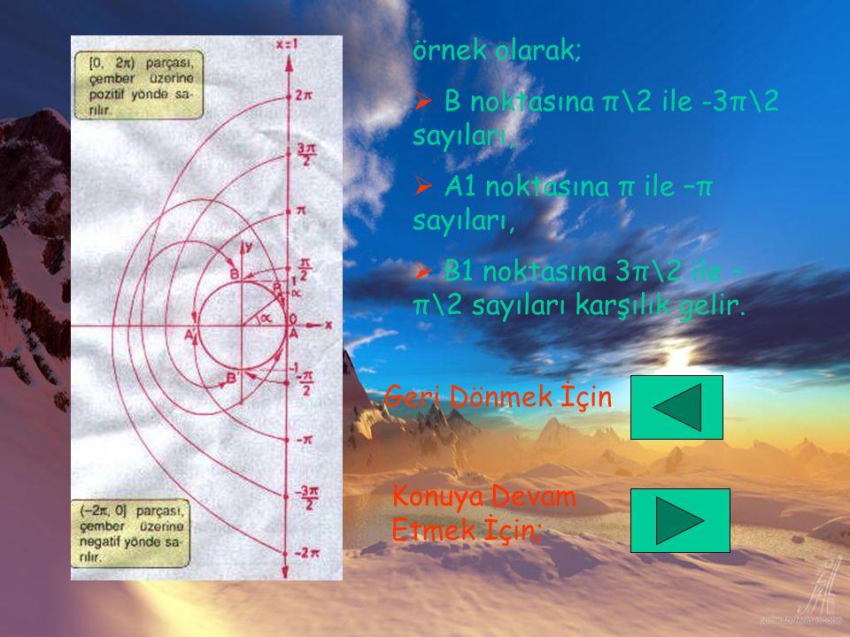 örnek olarak; B noktasına π\2 ile -3π\2 sayıları, A1 noktasına π ile –π sayıları, B1 noktasına 3π\2 ile –π\2 sayıları karşılık gelir.