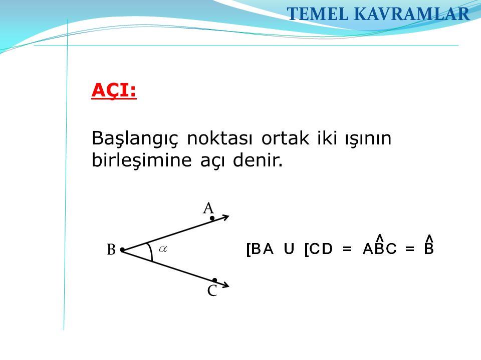 TEMEL KAVRAMLAR AÇI: Başlangıç noktası ortak iki ışının birleşimine açı denir. A B C .