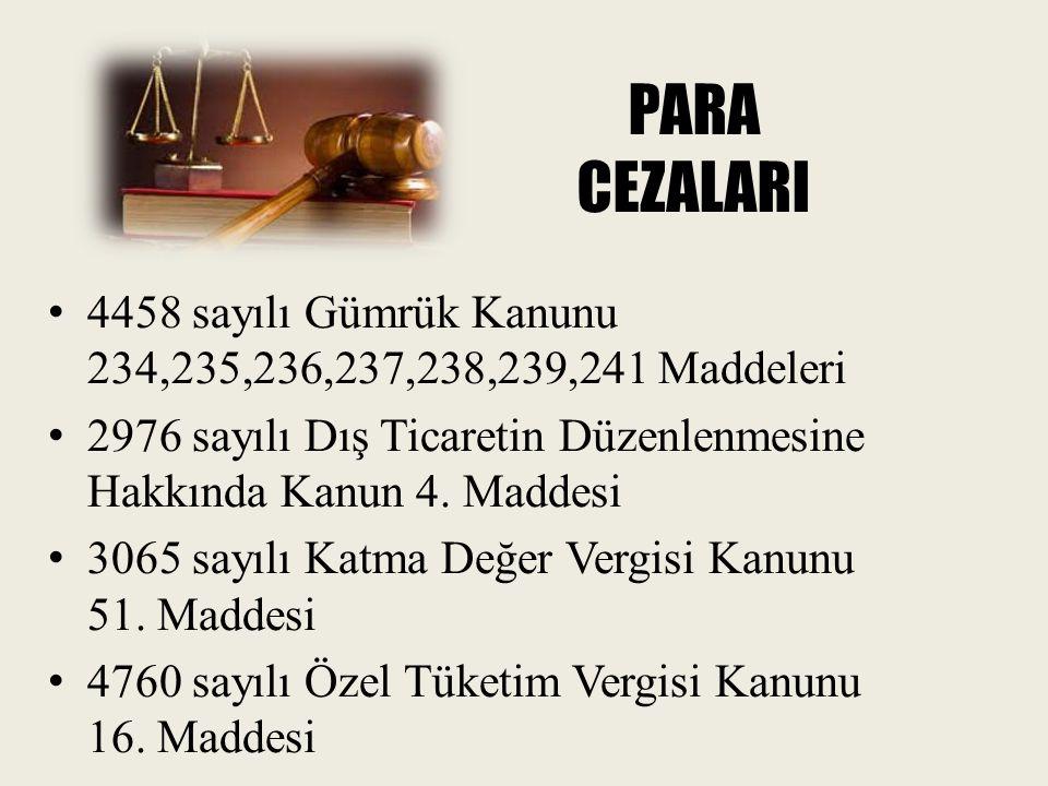 PARA CEZALARI 4458 sayılı Gümrük Kanunu 234,235,236,237,238,239,241 Maddeleri. 2976 sayılı Dış Ticaretin Düzenlenmesine Hakkında Kanun 4. Maddesi.