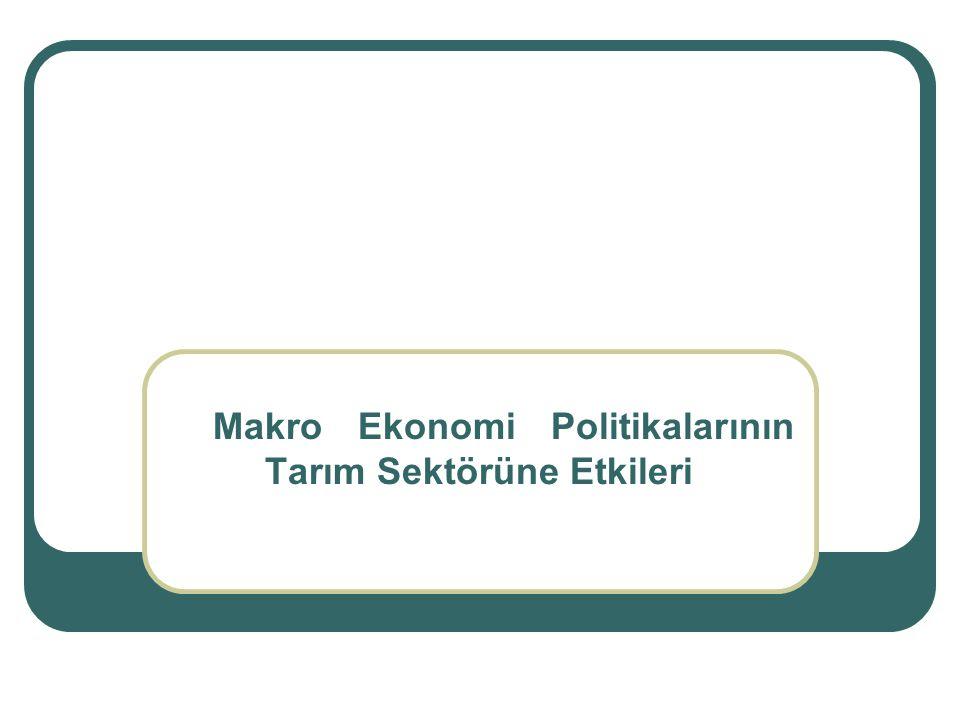 Makro Ekonomi Politikalarının Tarım Sektörüne Etkileri