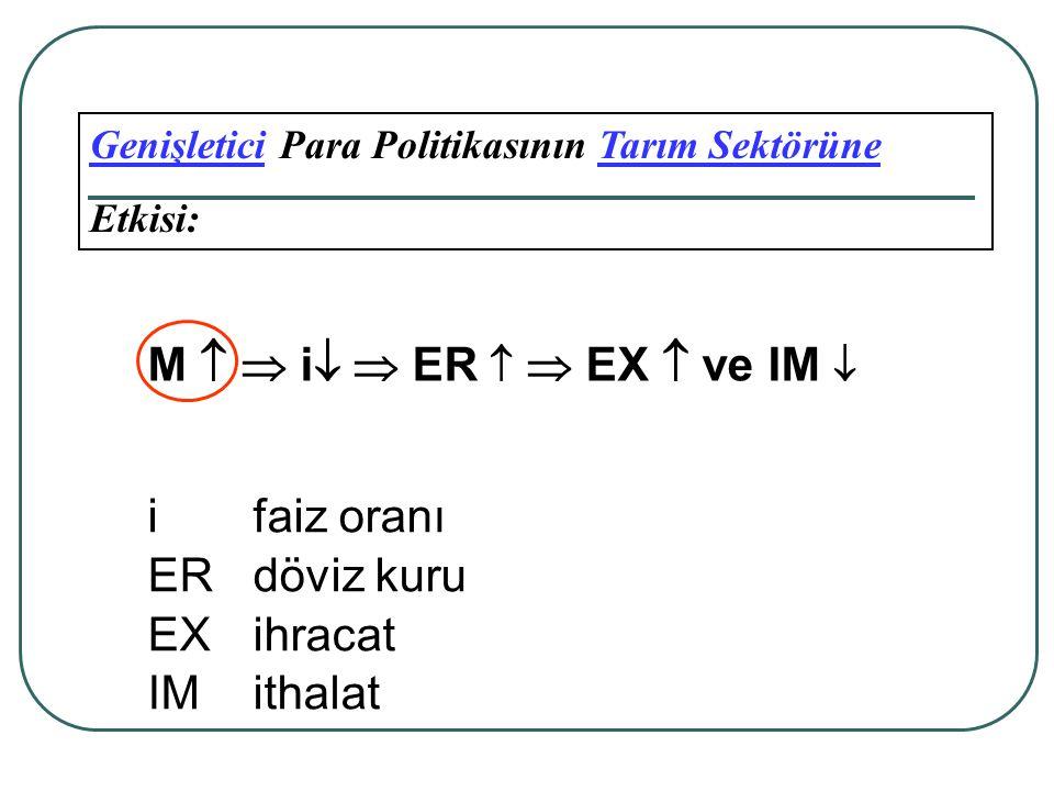 M   i  ER   EX  ve IM  i faiz oranı ER döviz kuru EX ihracat
