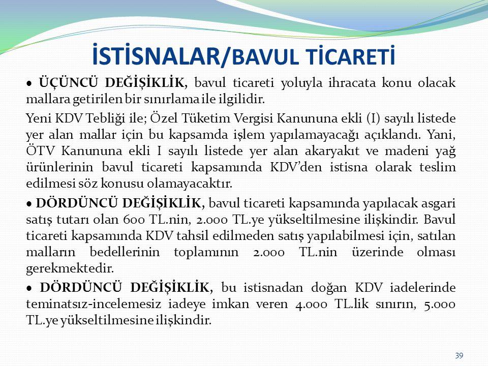 İSTİSNALAR/BAVUL TİCARETİ