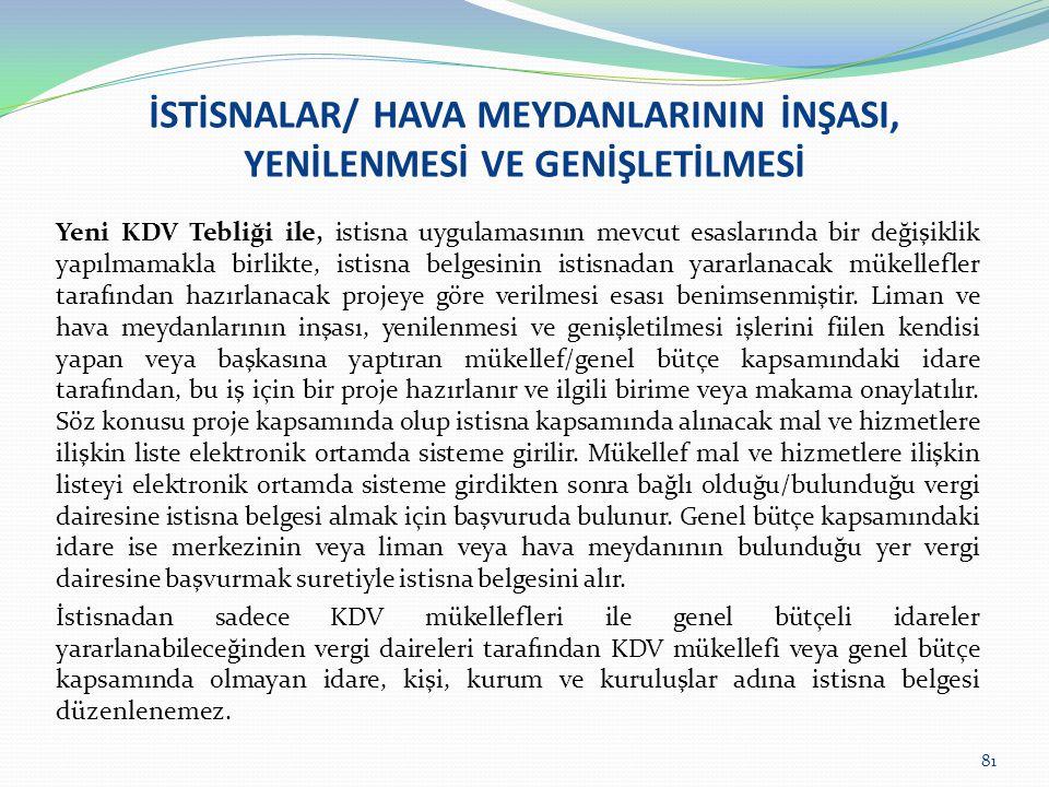 İSTİSNALAR/ HAVA MEYDANLARININ İNŞASI, YENİLENMESİ VE GENİŞLETİLMESİ