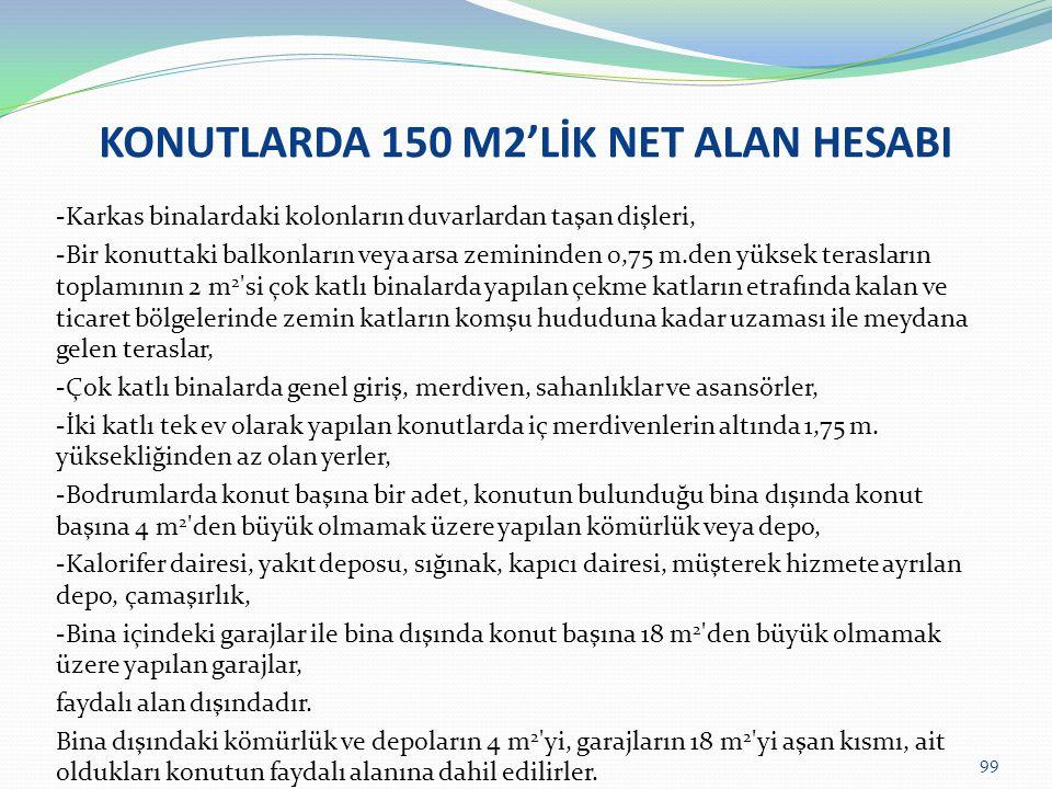 KONUTLARDA 150 M2'LİK NET ALAN HESABI