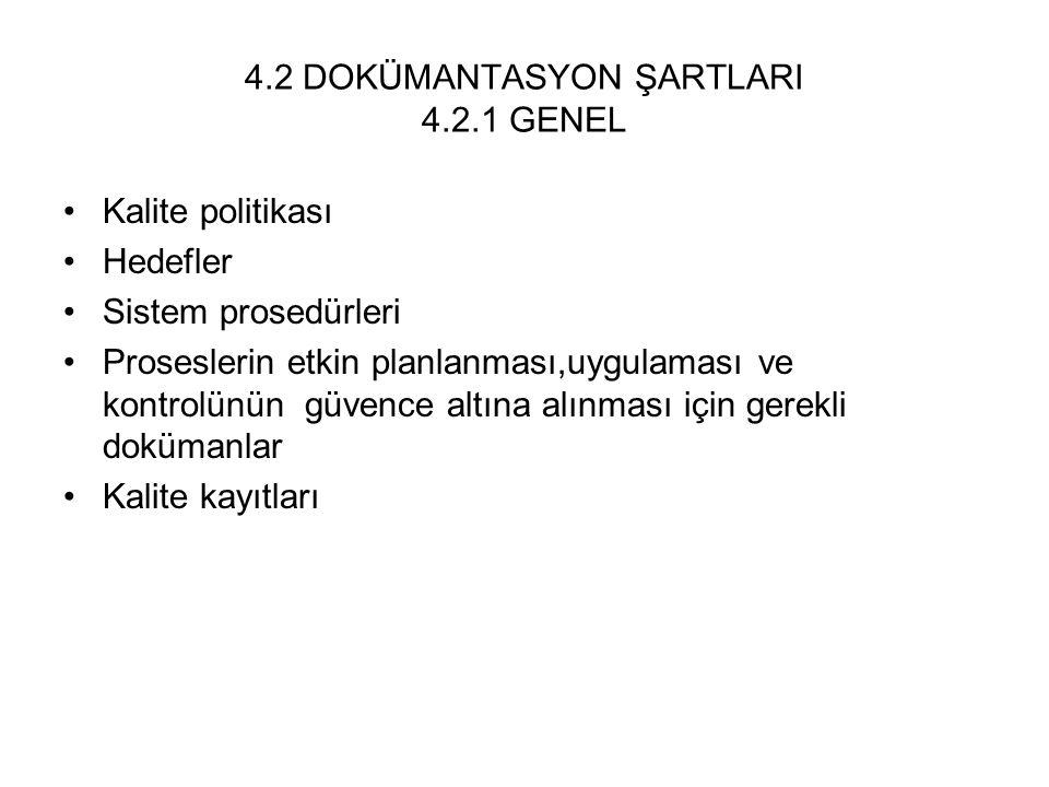 4.2 DOKÜMANTASYON ŞARTLARI 4.2.1 GENEL